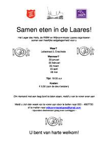 Poster samen eten in de Laares